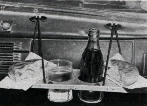 Snack Tray & Cup Holder available for the Model T in the 1920s.
