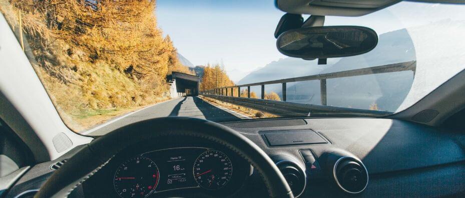 car dashboard and windshield