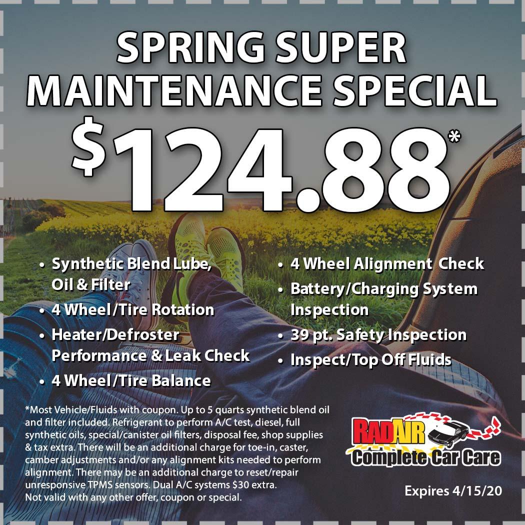 Rad Air Spring Super Maintenance Special April 2020 Coupon